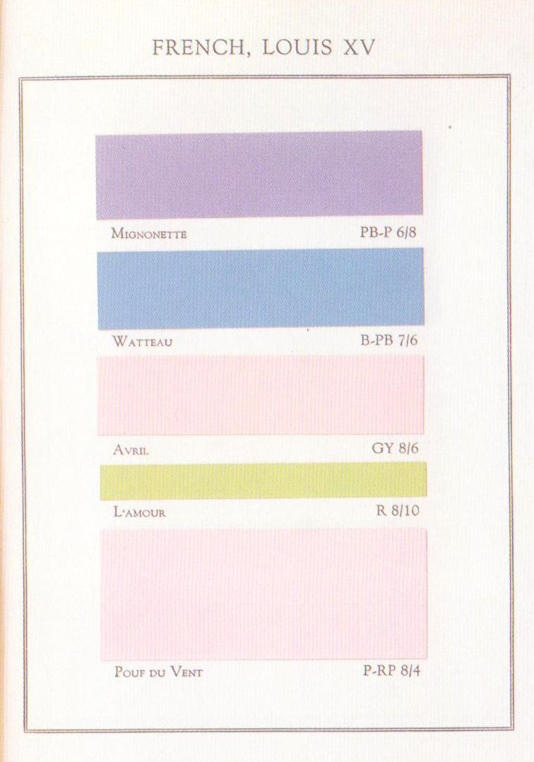 Book color palette - French Louis Xv Palette From The Book Historical Color Guide Primitive To Modern Times