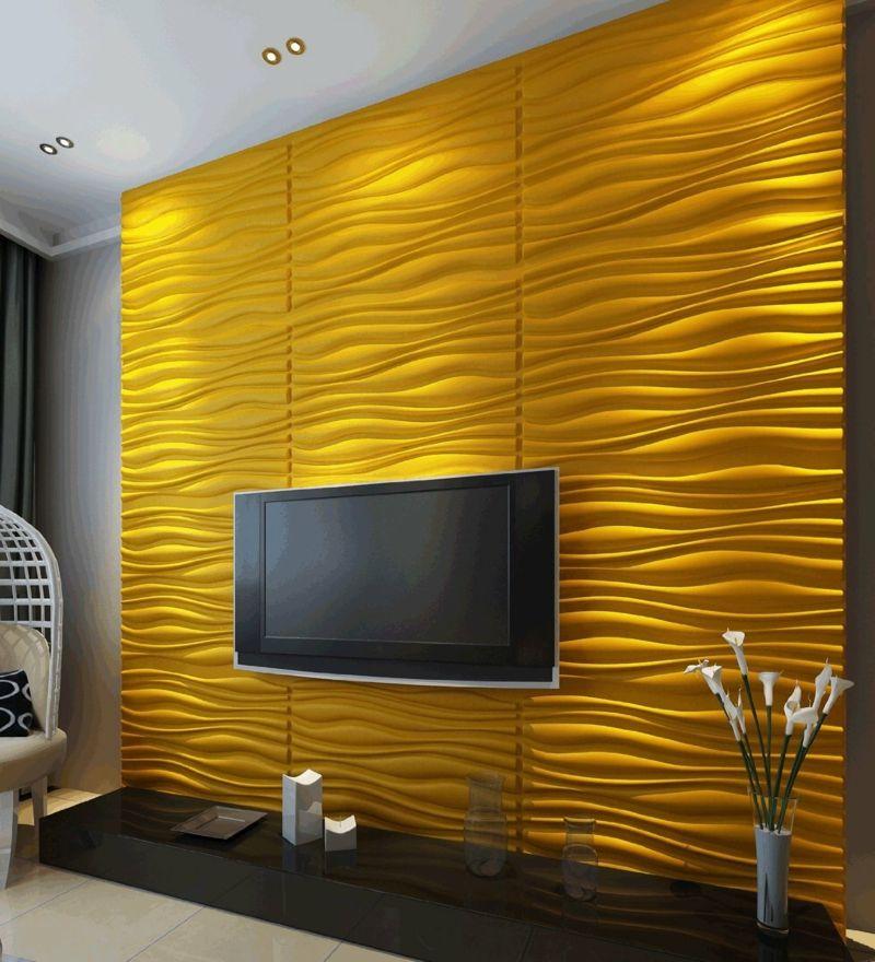 Kreative Wandgestaltung im Wohnzimmer 3D Wandpaneele home decor