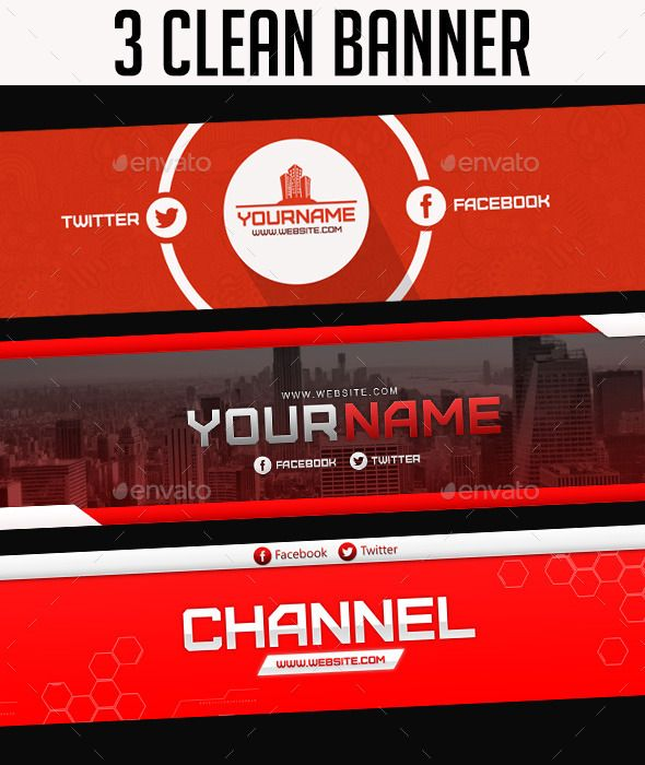 3 Clean YouTube Banner Template PSD. Download Here: Http