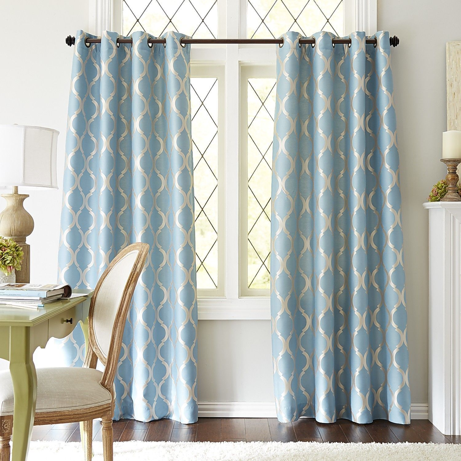 Moorish Tile Curtain Smoke Blue For the Home