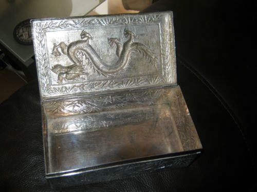 Antique silver CHINESE Box - oriental bamboo -and Dragons with hallmark 368g | eBay