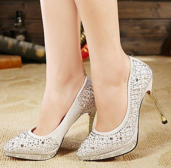 4e7e19e64d2 Spring Summer 2014 Women Shoes High Heel Gold Glitter Platform Heels  Pointed Toe Heels Ladies Silver Party Pumps