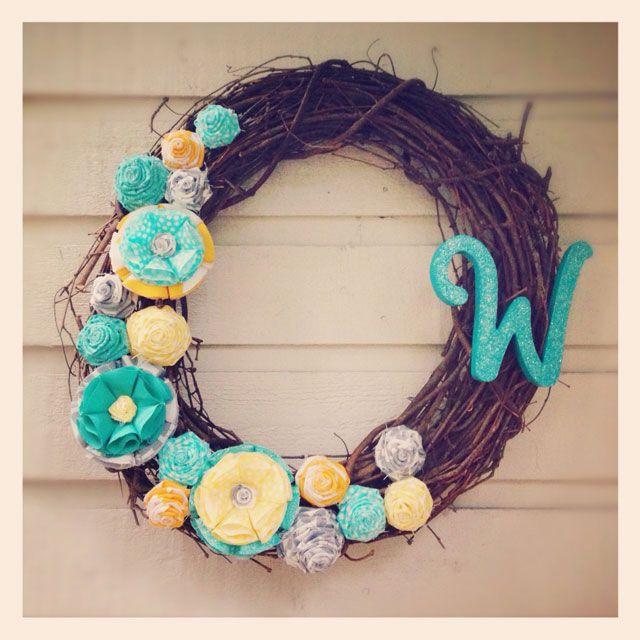 fabric flower wreath