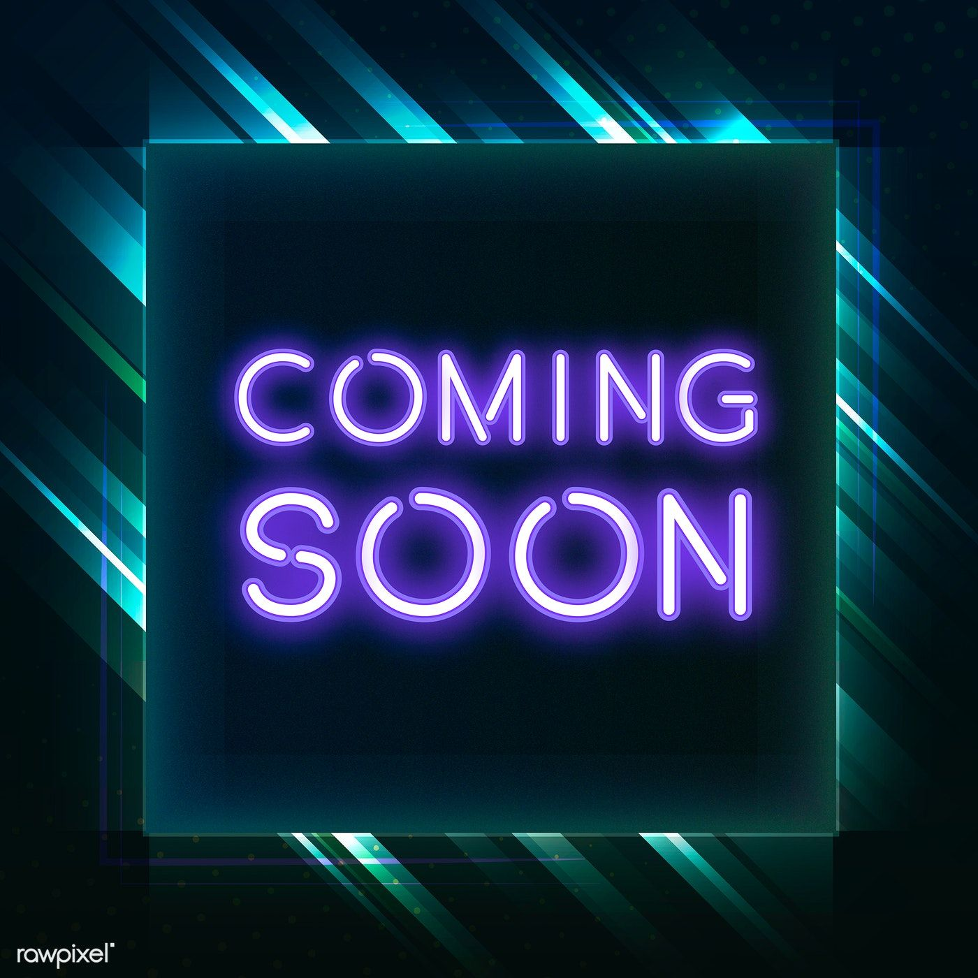 Purple coming soon neon icon vector free image by