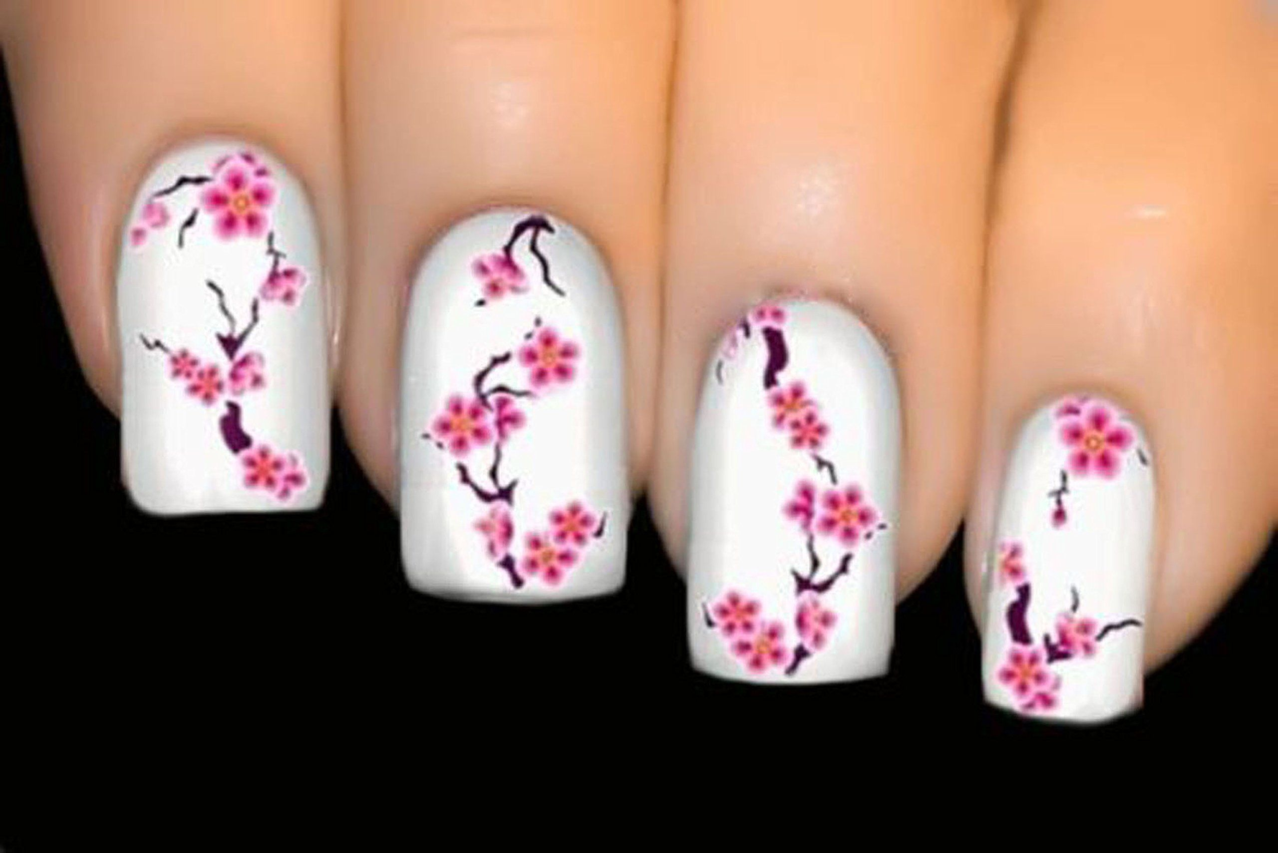 Robot Check Cherry Blossom Nails Art Cherry Blossom Nails Flower Nail Art