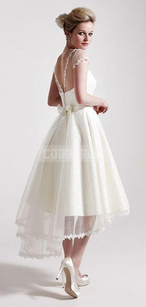 Ced Sleeves High Low Lace Hem Sash Bow Reception Dress