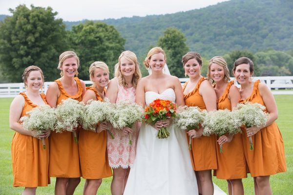 orange bridesmaid dresses | Meg Runion #wedding | Orange Wedding ...