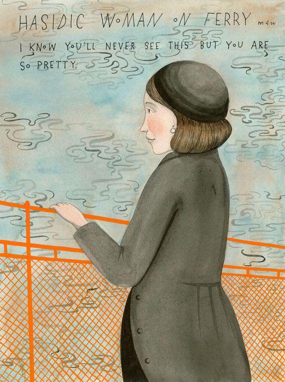Sophie Blackall Hasidic Woman On Ferry Ilustraciones La Sonrisa De Mona Lisa Arte Y Diseño