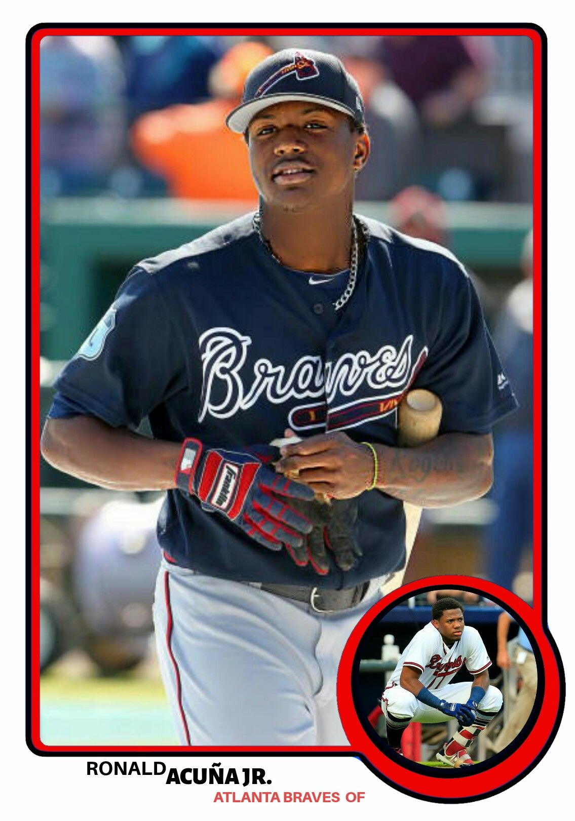 2019 Old School Style Baseball Cards Ronald Acuna Jr Atlanta Braves Atlanta Braves Baseball Atlanta Braves Wallpaper
