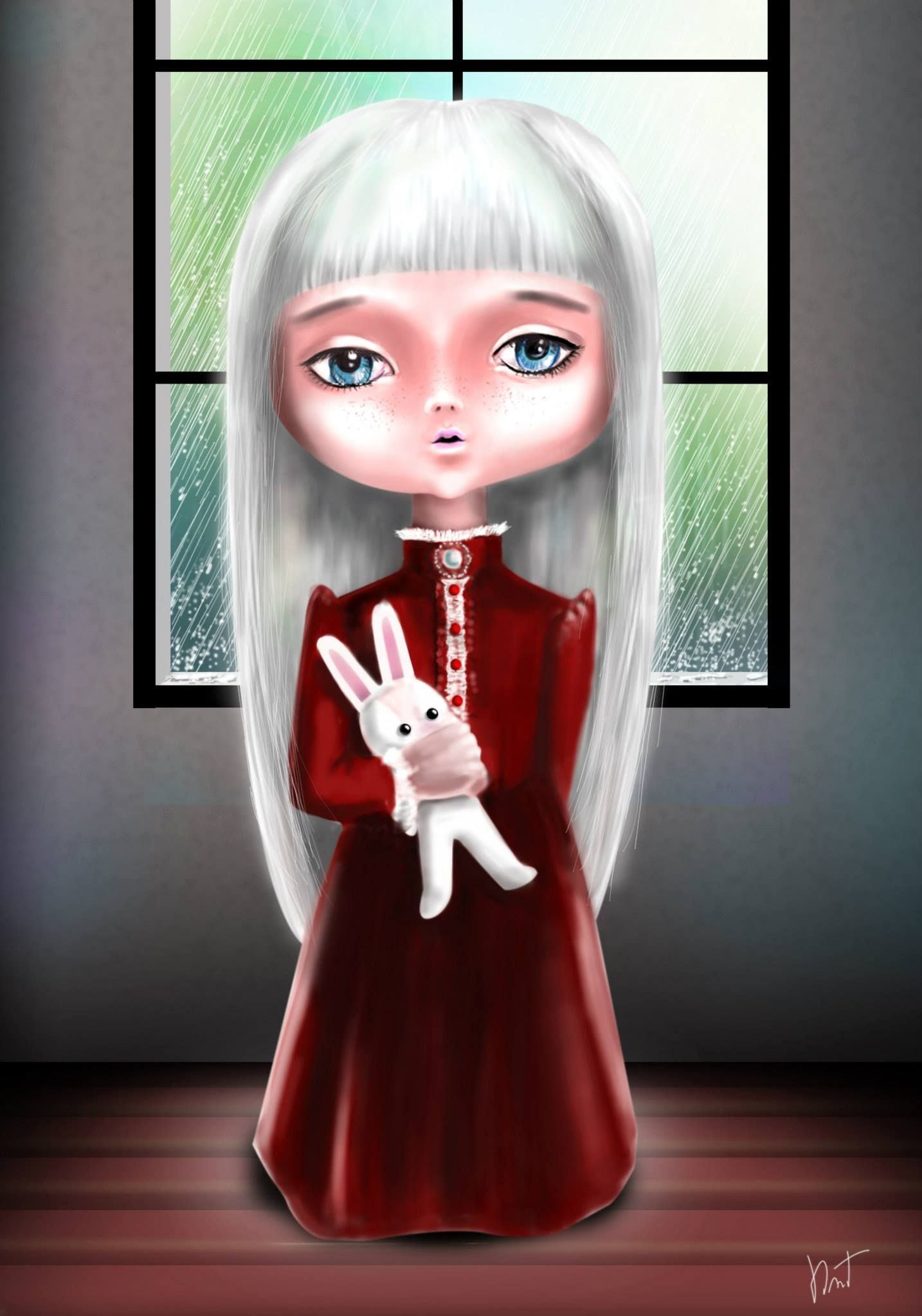 My digital paint ... What's her hide in the raining day (Namkaow & Bunnybun)