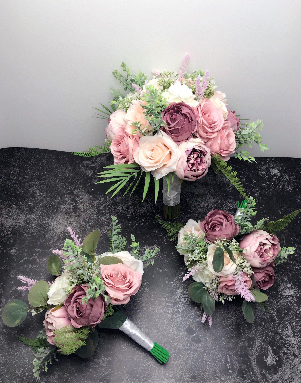 Dusty rose &ivory bouquetWedding Bouquets Bridal bridesmaid | Etsy