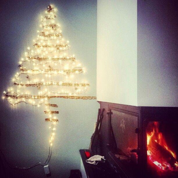 Christmas tree lights on wall   ideas   Pinterest   Christmas tree