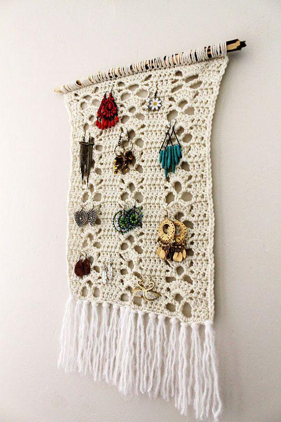 Boho Earring HolderCrochet Hipster Knit Jewelry Organizer Earring