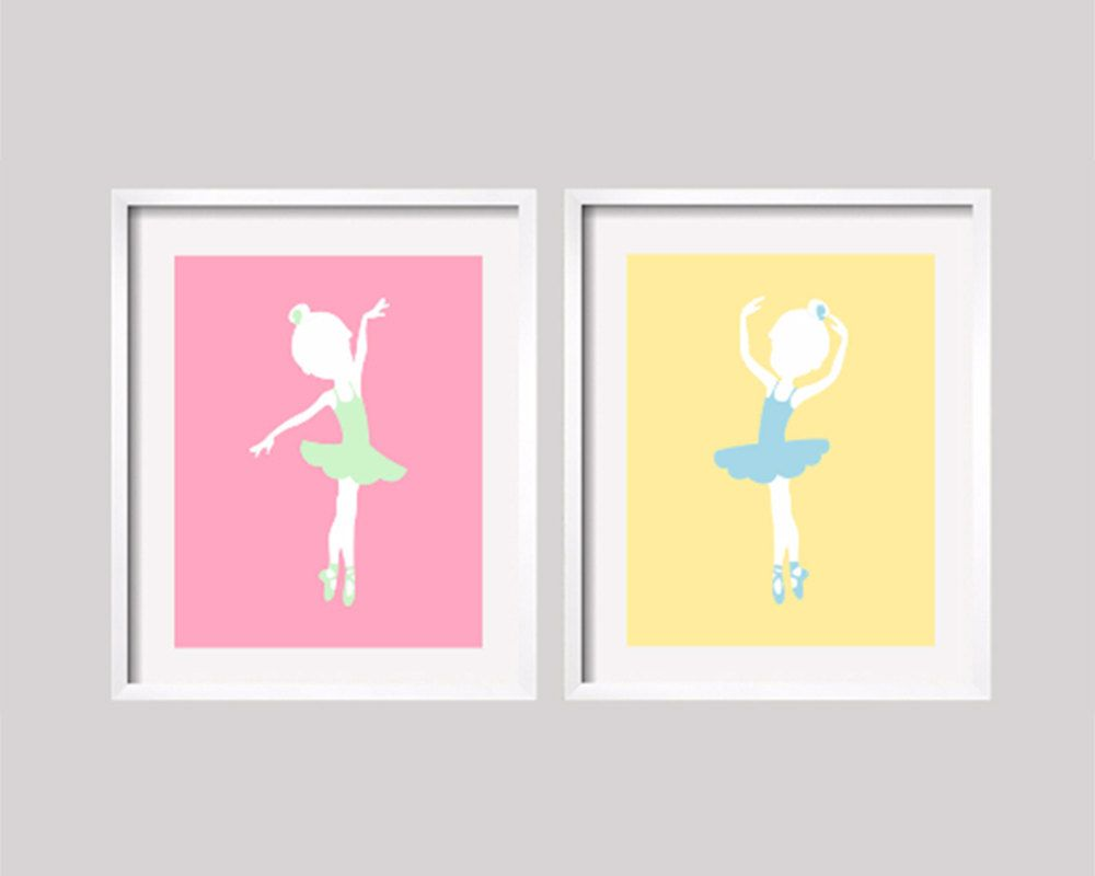 Ballerina Art, Ballet print, Pastel Pink Nursery Decor, Yellow Wall ...