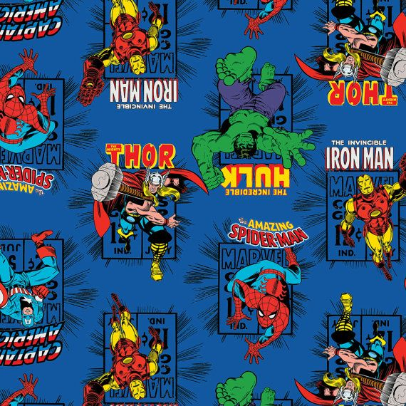 royal blue marvel avengers action heroes camelot quilt fabric by the