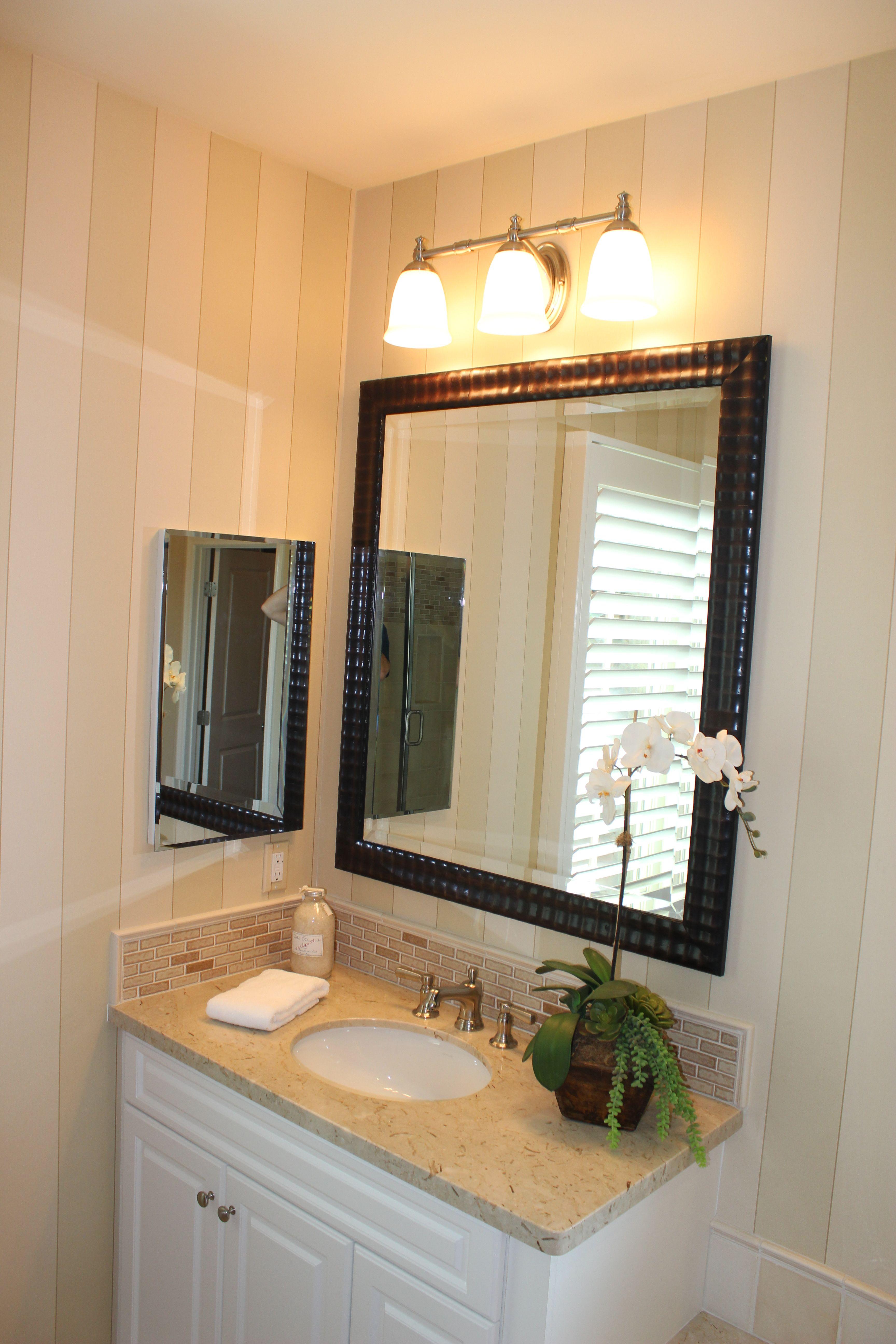 Bathroom with vanity fixture. | Bathroom recessed lighting ...