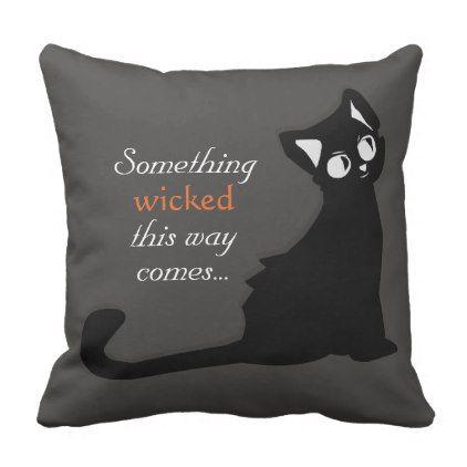 Mischievous Black Cat - Pillow - halloween decor diy cyo personalize - halloween decorations black cat