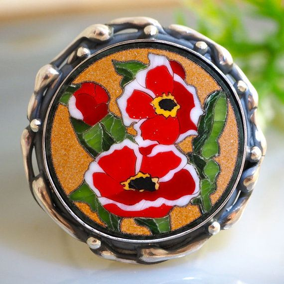 Mosaic Ring Red Poppy Flower Statement Ring Sterling Silver Jewelry