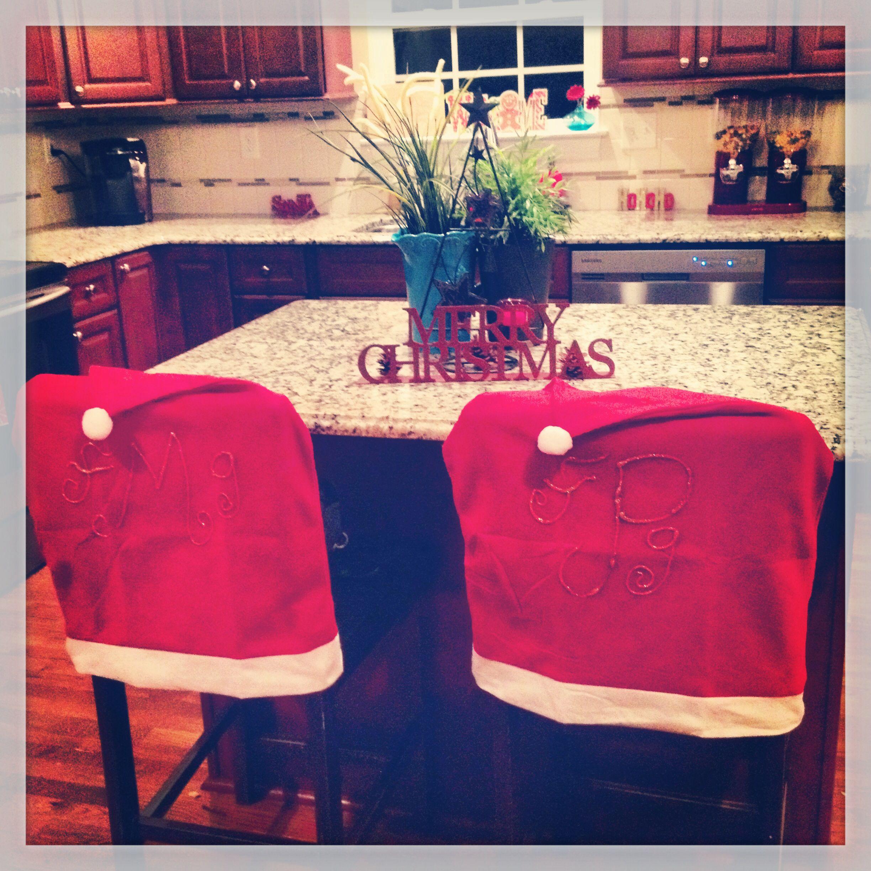 Monogram on dollar tree Christmas seat cover. :)