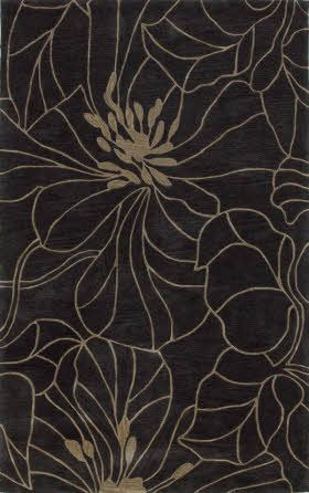 KAS Oriental Bali Floral Chic Charcoal / Taupe (2816)