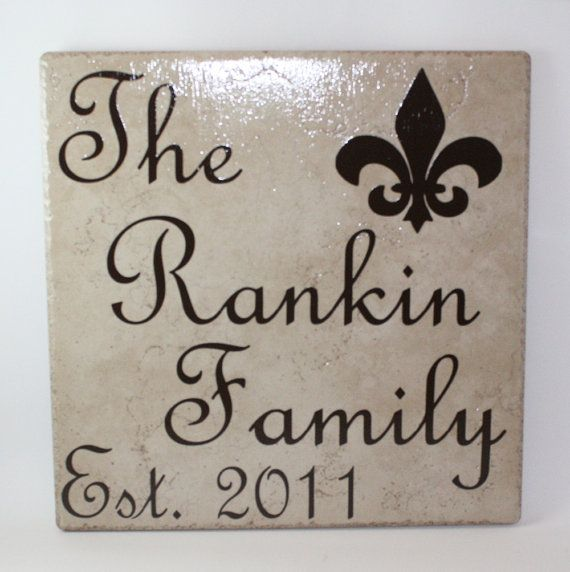 Ceramic Tile Name Plate with Last Name Family, Established Year, and ...