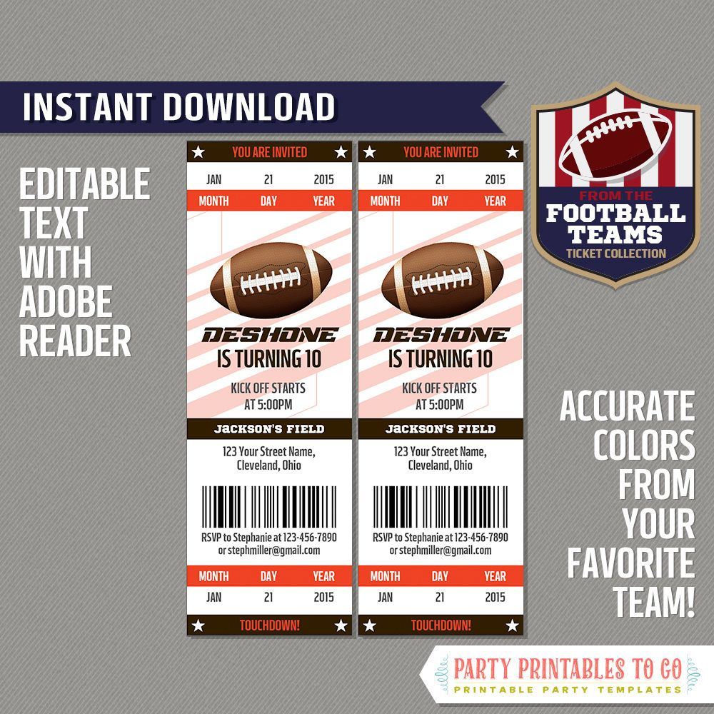 Football Ticket Invitation Template Brown And Orange Etsy Football Ticket Invitations Invitation Template Ticket Invitation Football ticket template free download