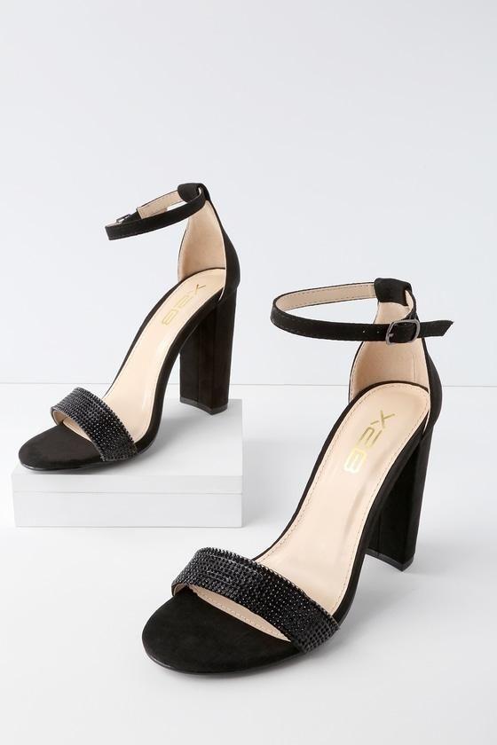Lulus Jam Suede Rhinestone Ankle Strap Heels - Lulus GaKEy4Q