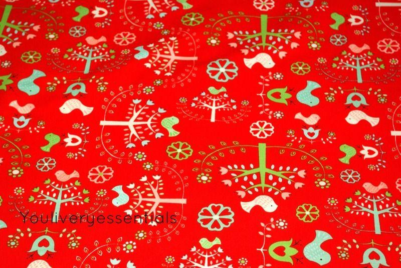 Camelot Fabrics,Folklore, Vogelgarten,rot von YouLivery essentials auf DaWanda.com