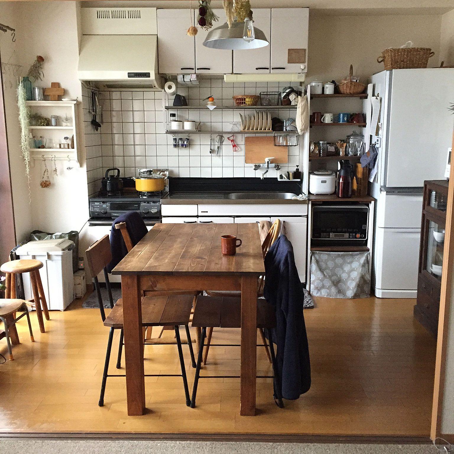 キッチン 吊り棚 賃貸インテリア 賃貸暮らし 鏡もち などのインテリア実例 2017 12 30 08