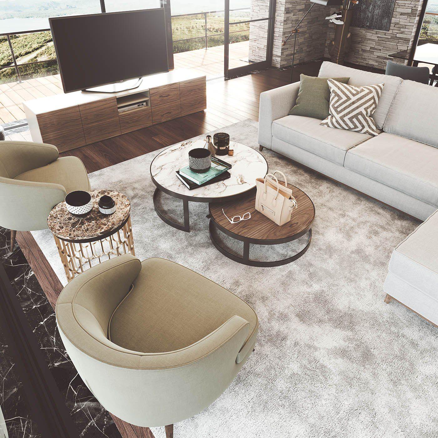 Mesas De Centro Redondas Con Diseño Original En Dos Alturas