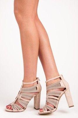 Azurowe Sandaly Na Slupku 40 6776982783 Oficjalne Archiwum Allegro Heels Shoes Peep Toe