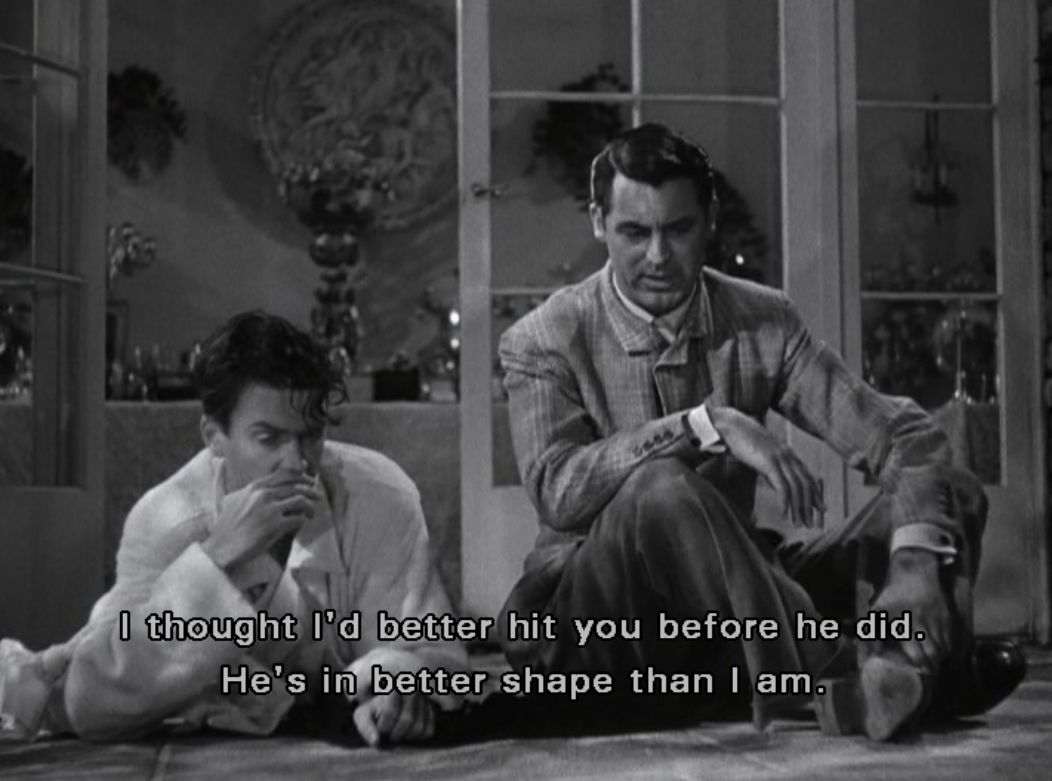 Cary Grant and James Stewart in The Philadelphia Story:\