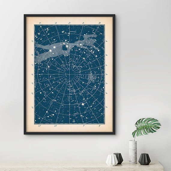 Star chart print, Framed art, Star map print, Constellation print ...