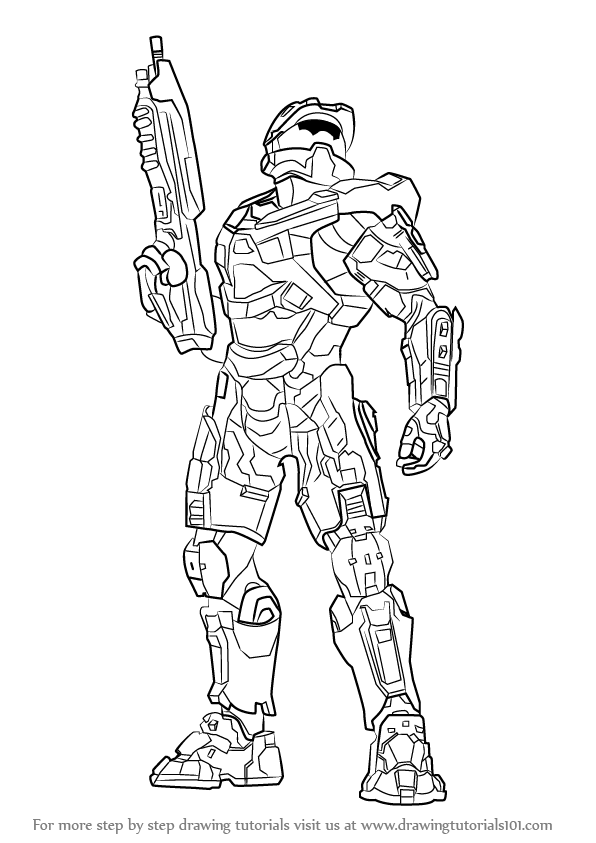 learn how to draw master chief from halo halo step by step drawing tutorials