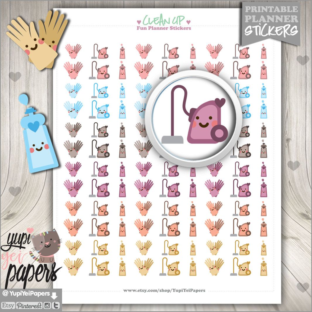 50%OFF - Clean Up Stickers, Planner Stickers, Printable Stickers, Planner Accessories, Stickers, Printable Planner Stickers