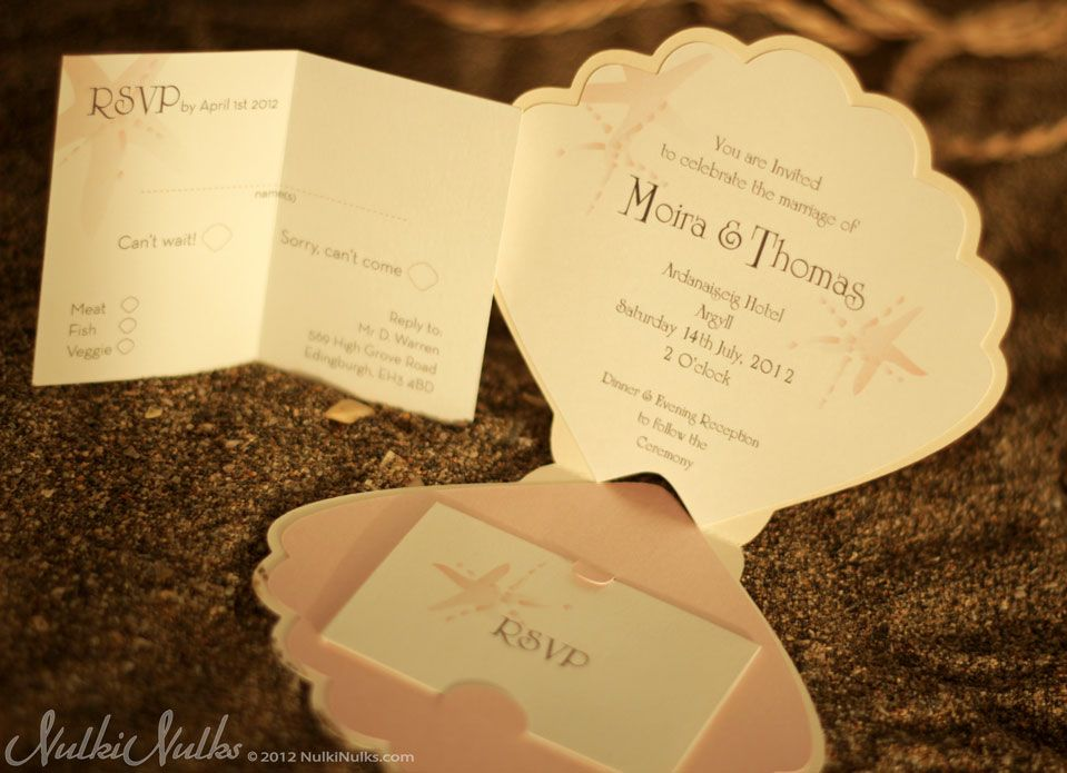 Shell Shaped Wedding Invitation With Rsvp