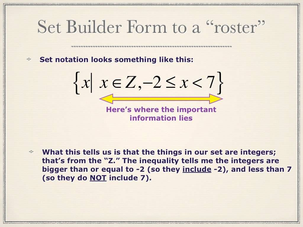 Set Notation Worksheet