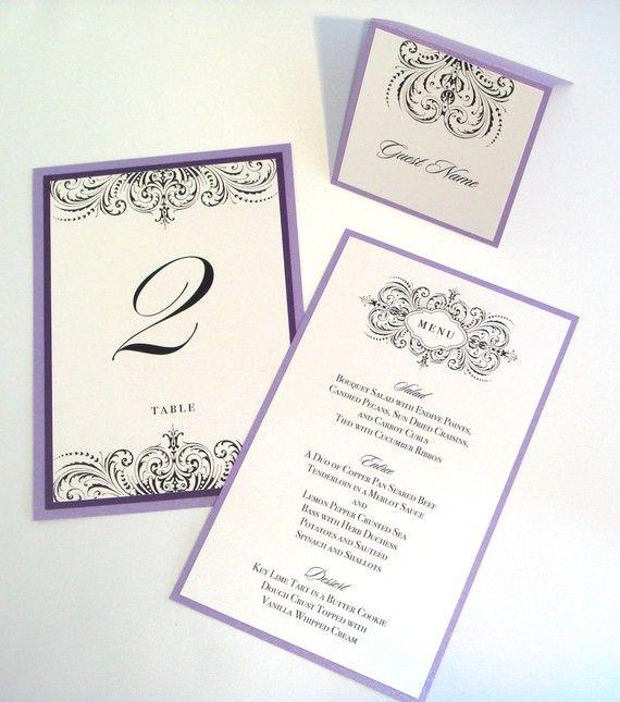 Thalia Scroll Wedding Reception Items - Menu, Table Number ...