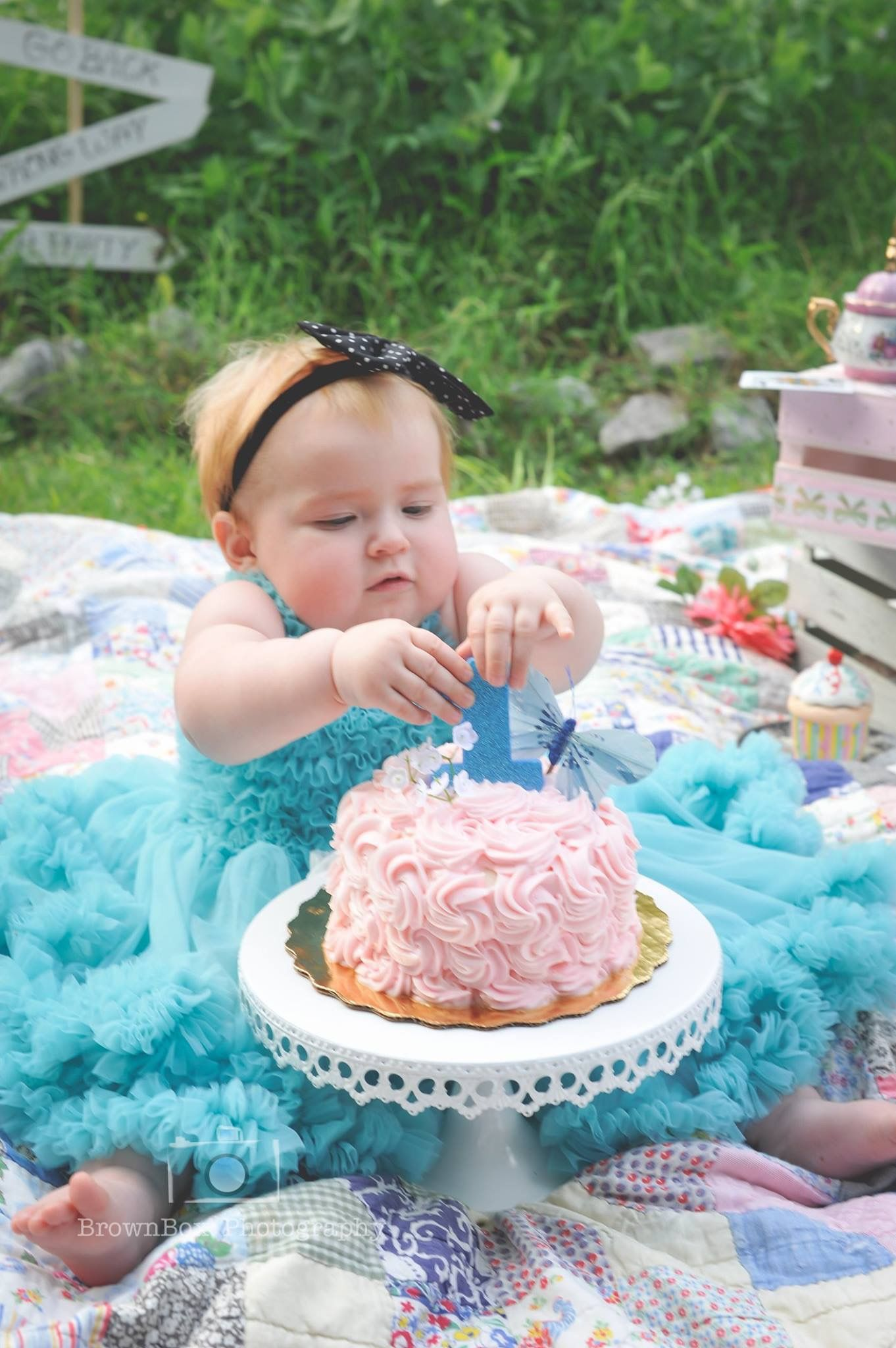 Smash Cake Alice In Wonderland Baby Girl Photo Session Brownbox