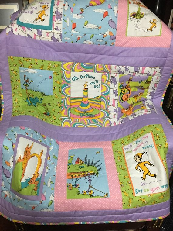 Custom Made From Dr Seuss Oh The Places Youll Go Book Fabric Quilt