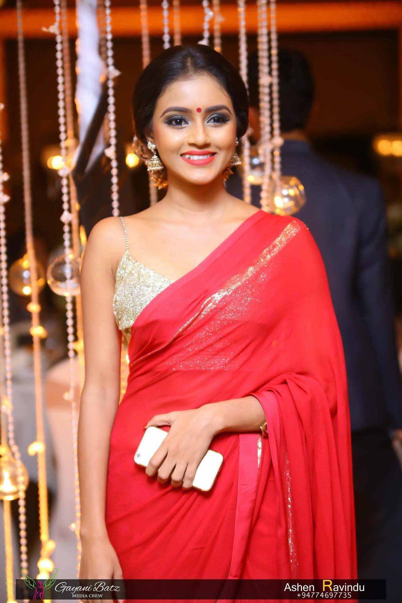 Dinakshie Priyasad Sri Lankan Actress Saree Gown Saree Blouse Red Saree Saree
