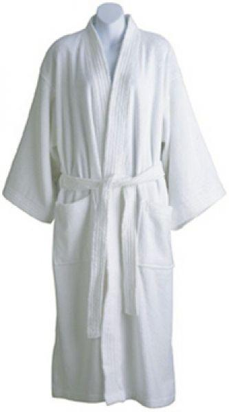 7e8eba9b54 Roomy kimono-style bathrobe is 100% cotton. Terry Velour. Available in  White. Machine washable.  spa  hotel  terry  cotton  kimono  robe