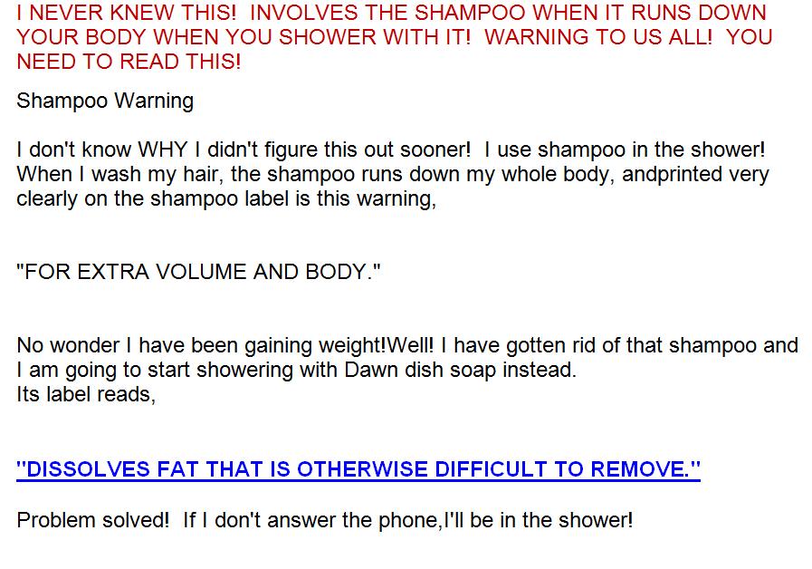 Shampoo warning joke