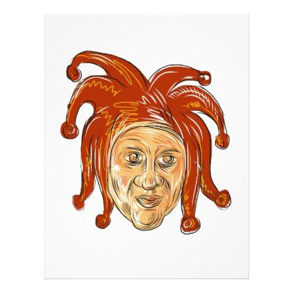 Court Jester Head Drawing | Zazzle.com | Drawings, Drawing ...