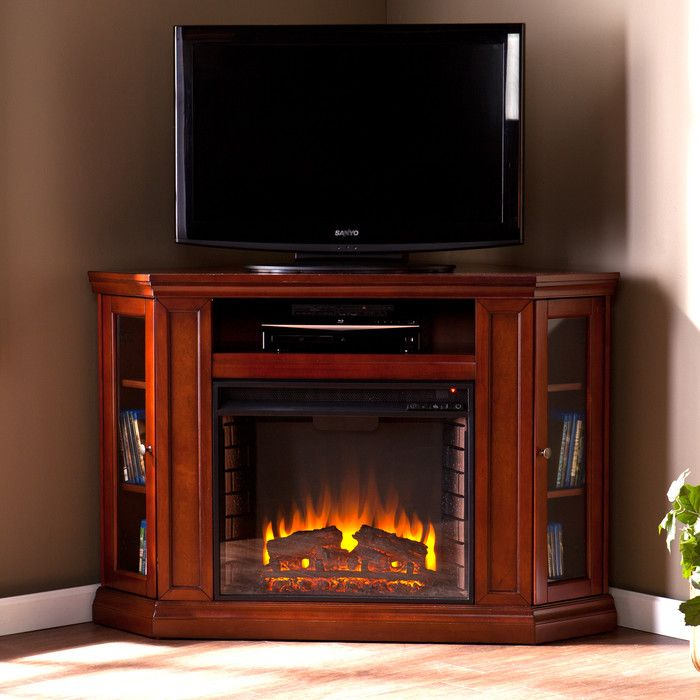 The Oyster Bay Corner Tv Stand With Electric Fireplace Has An