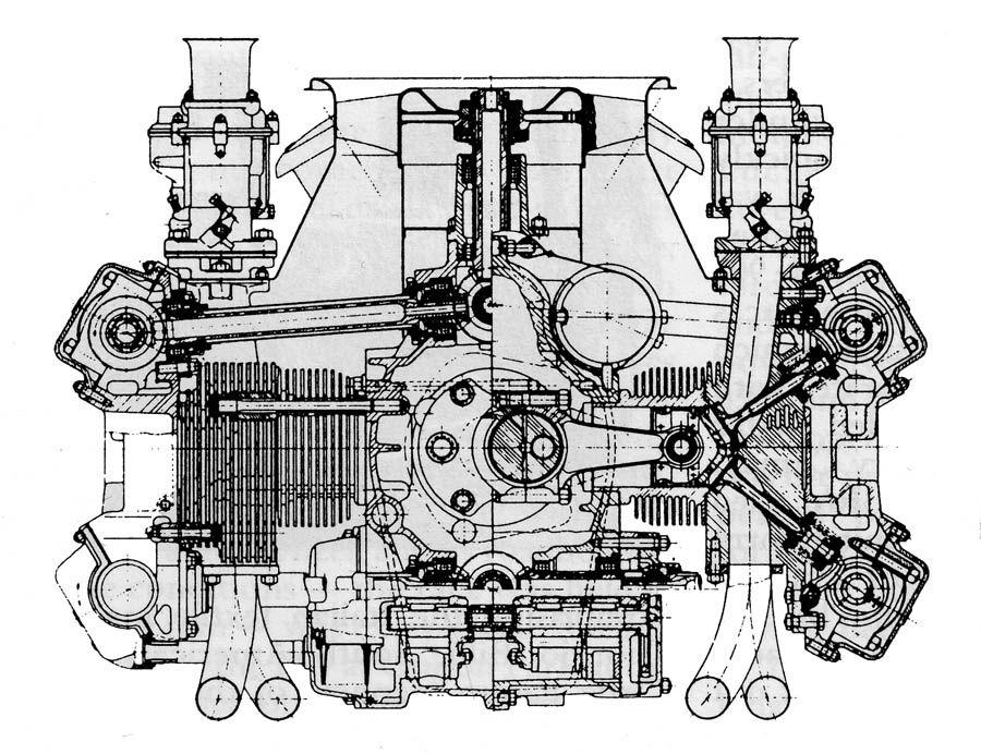 Porsche Dohc Cutaway Porsche Engineering Blueprint Engines