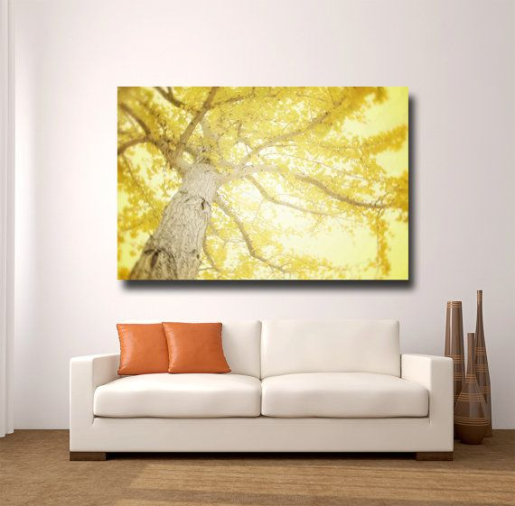 Large Yellow Wall Art, Yellow Tree Photography, Canvas Wrap, Modern ...