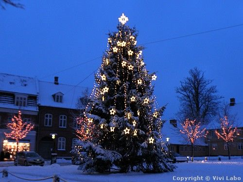 Decorated Christmas Tree In A Small Town In