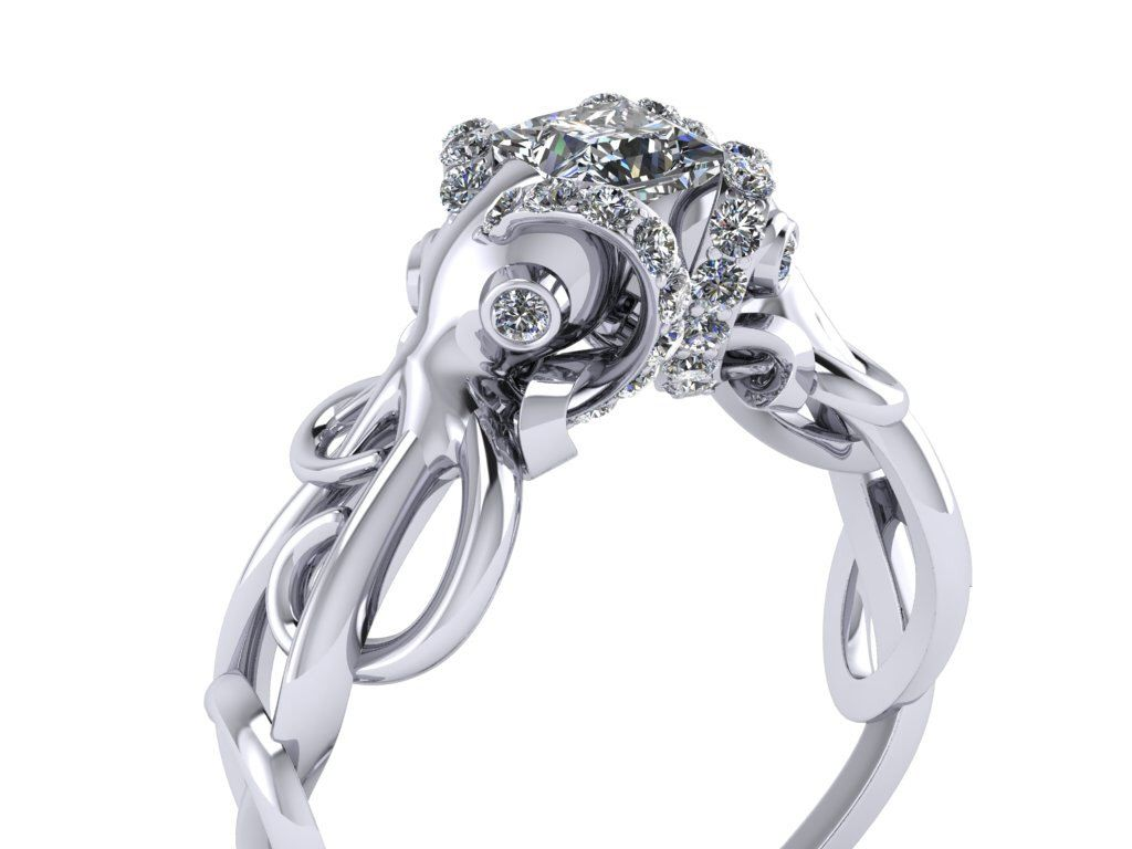Double Octopus Diamond Engagement Ring Half Carat by adamfosterjewelry on Etsy https://www.etsy.com/listing/245832087/double-octopus-diamond-engagement-ring