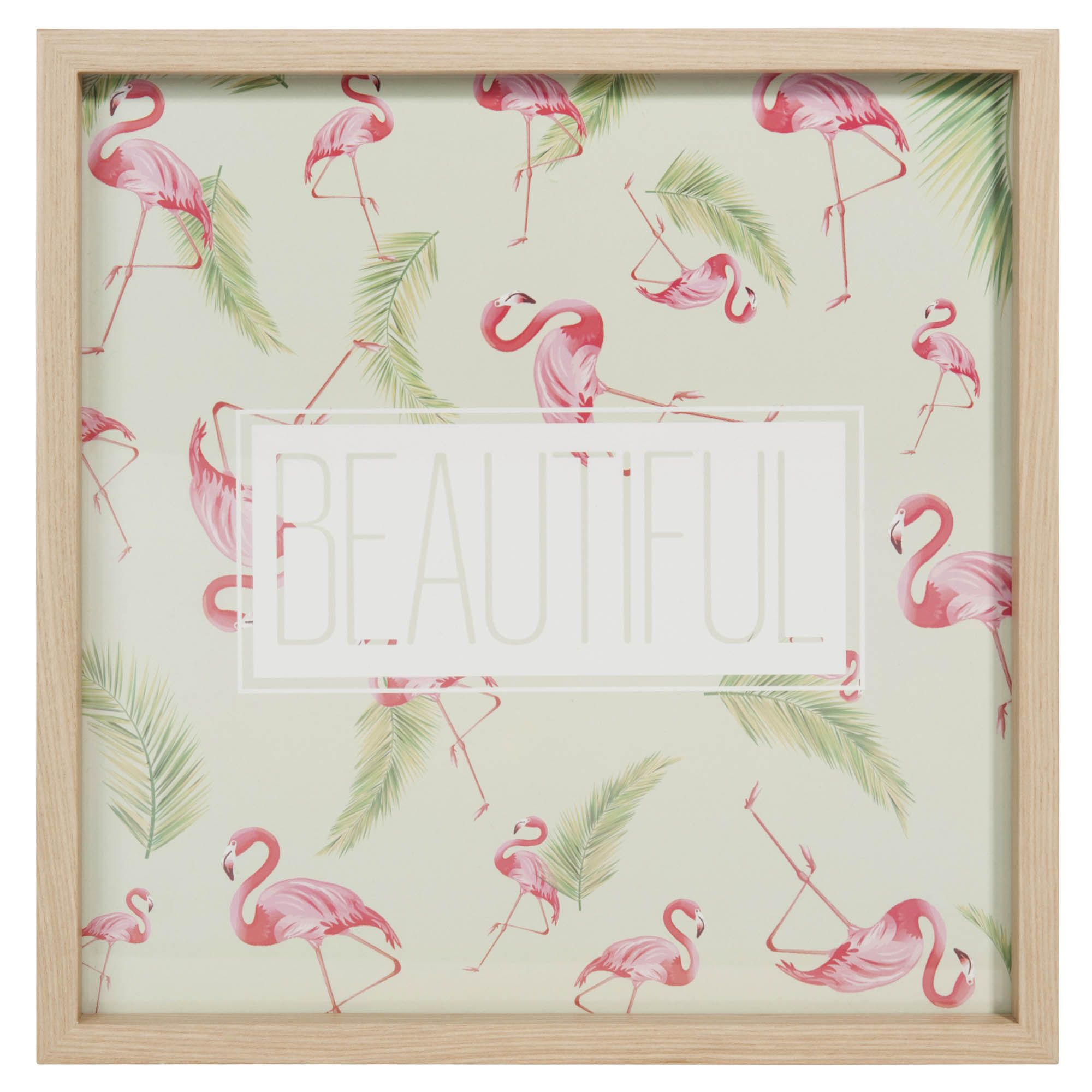 tableau en bois et verre 30 x 30 cm beautiful flamingo. Black Bedroom Furniture Sets. Home Design Ideas